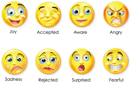 The eight faces that represent the eight primary emotions that form